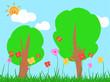 Leinwandbild Motiv 잔디와 나무 그리고 꽃과 나비와 구름과 태양