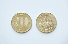 日本硬貨500円玉の表裏