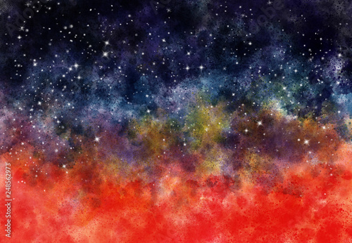 Obraz na plátně Star field in galaxy space with nebula, abstract watercolor digital art painting