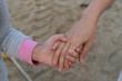 Asian little girl Mother Holding hands Walking