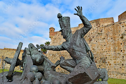 Bronze monument at Ceuta Castle, Ceuta, Spain