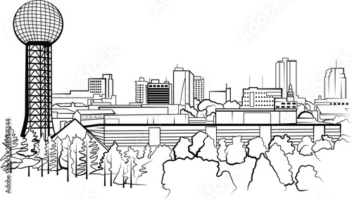 Knoxville, Tennessee City Skyline Vector Illustration