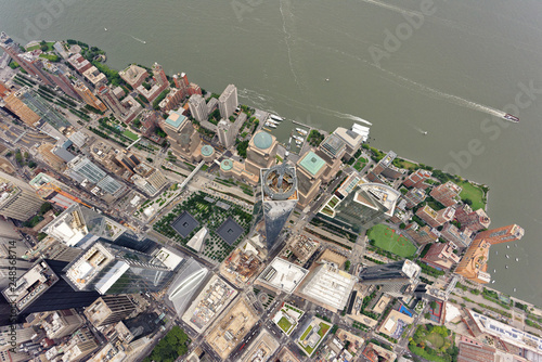 Wide-angle aerial view over World Trade Center, looking down Canvas Print
