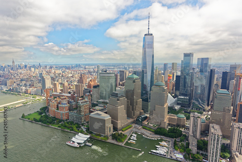 Fotografie, Obraz  Aerial view of World Trade Center skyline, viewed from the west
