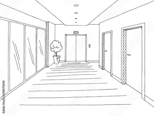 Obraz Corridor graphic black white interior sketch illustration vector - fototapety do salonu
