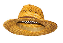 Yellow Straw Hat On White Back...