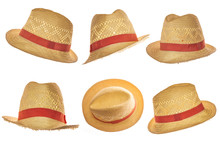 Set Of Yellow Straw Hat On White Background Side View.