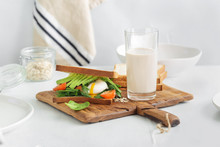 Healthy Breakfast Oat Milk Brunch Breakfast Sandwich Poached Eggs Avocados