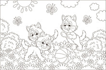 Funny Little Kittens Playing With A Ball And Butterflies On Grass Among Flowers On A Sunny Day, Black And White Vector Illustration In A Cartoon Style For A Coloring Book