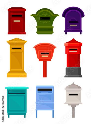 Fototapeta Flat vector set of mailboxes
