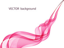 Abstract Soft Design Pattern With Pink Wavy Lines In Elegant Dynamic Style On White Background. Pink Waves.