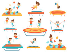 Flat Vector Set Of Children Ju...