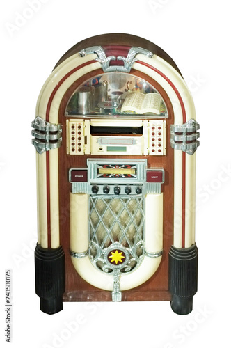 Fotografia  Old jukebox music player isolated on white background