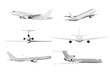 canvas print picture Set of airplane isolated from the white background