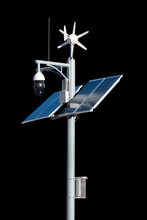 CCTV Security Camera With Solar Cell Panel Of Clean Energy Electric Pole