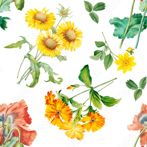 Cotton fabric Floral patterned background
