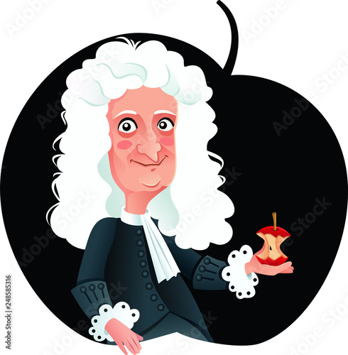 Photo Isaac Newton Vector Caricature