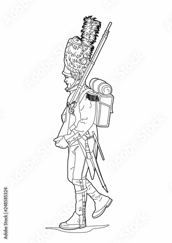 Drawing of an empire soldier Fototapet