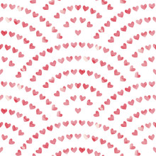 Watercolor Pattern For Valentine's Day. Pink Hearts Painted With Paint On Paper. Vector Illustration.