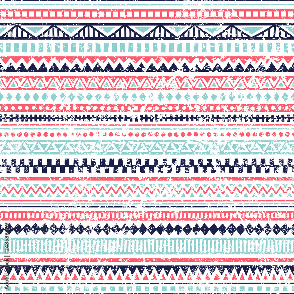 Fototapeta Seamless striped pattern. Ethnic and tribal motifs. Vintage print, grunge texture.Simple ornament. Handmade. White, pink and blue colors. Vector illustration.
