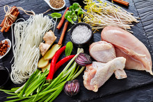 Raw Ingredients For Asian Chicken Soup, Close-up