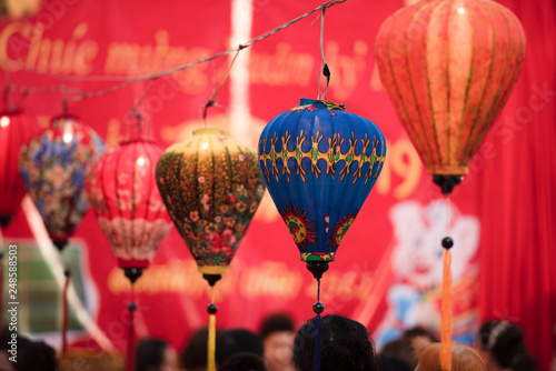 Fotografie, Obraz  Paper lanterns on the streets of the old Asian city of Vietnam