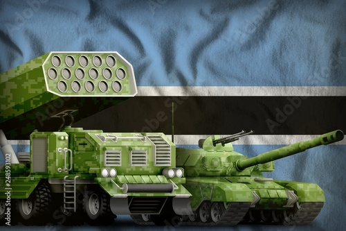 Poster Militaire Botswana heavy military armored vehicles concept on the national flag background. 3d Illustration