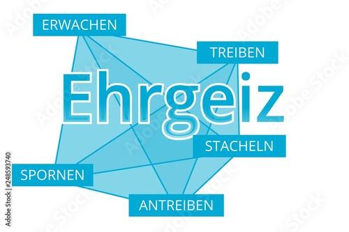 Fotografie, Obraz  Ehrgeiz - Begriffe verbinden, Farbe blau