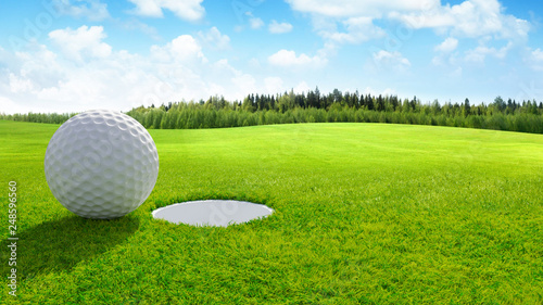3d render Close up of golf ball on green in golf course. sport background.