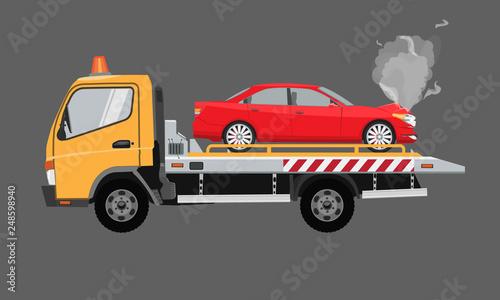 Carta da parati Yellow tow truck with sedan car on it