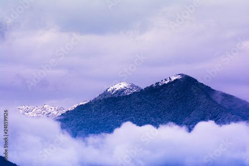 Tuinposter Purper Snowfall, snow covered hill pick from Kathmandu, Nepal, 9 Feb, 2019