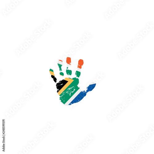 Fototapeta south africa flag and hand on white background. Vector illustration obraz