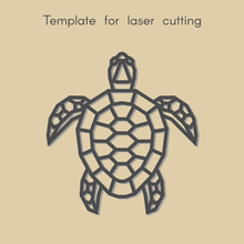Template Animal For Laser Cutting. Abstract Geometric Turtle For Cut. Stencil For Decorative Panel Of Wood, Metal, Paper. Vector Illustration.