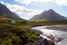 River And Cottage In Glen Coe,...