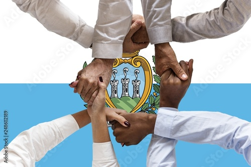 San Marino flag, intergration of a multicultural group of young people
