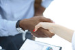 closeup.confident handshake between business people in the office
