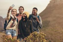 Group Selfie On Hiking