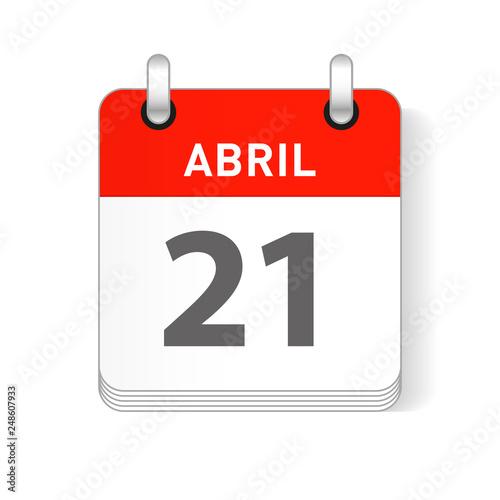 Fotografia Abril 21, April 21 Calendar Date Design