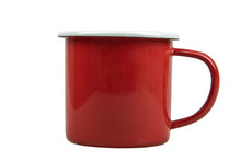 A Red Tin Cup Isolate On White Background With Clipping Path.
