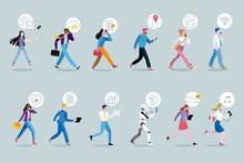 Set Of Business People Walking...