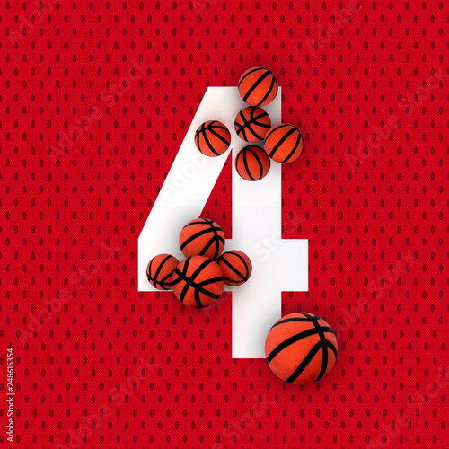 Fotografía  4 number four, graphic white digit and creative typography with orange balls on orange background with basketball balls