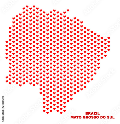 Fotografija  Mosaic Mato Grosso do Sul State map of valentine hearts in red color isolated on a white background