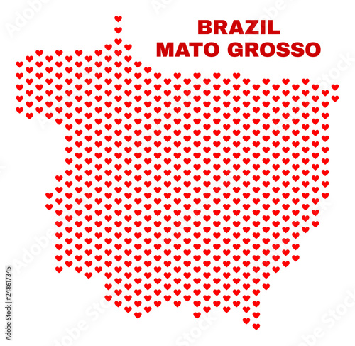 Fotografie, Obraz  Mosaic Mato Grosso State map of love hearts in red color isolated on a white background