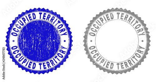 Valokuva  Grunge OCCUPIED TERRITORY stamp seals isolated on a white background