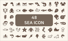 Set Of 48 Sea Life And Ocean Vector Icons.solid Style.  Contains Such Icons As Nautical Creatures , Sea Food, Sea, Ocean, Fish, Coral, Sea Horse, Seaweed, Turtle And Other Elements.