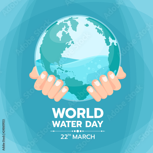 Fotografie, Obraz  World water day banner with hand hold water in circle world glass vector design