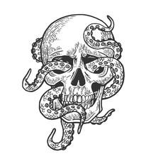 Octopus In Human Skull Engravi...