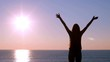 Back view of a happy woman raising arms at sunrise on the beach