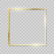 Gold Frame, Realistic Golden Texture Borders. Vector Shiny Square Frame On Transparent Background