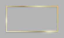 Golden Frame Shiny Border On Transparent Background. Vector Realistic Gold Texture Frame
